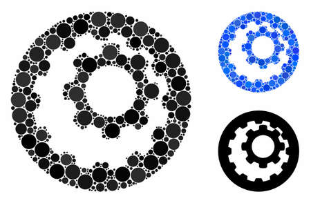 Internal gears mosaic of small circles in variable sizes and shades, based on internal gears icon. Vector small circles are grouped into blue mosaic.