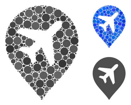 Airplane marker composition of filled circles in different sizes and color tones, based on airplane marker icon. Vector filled circles are composed into blue illustration.