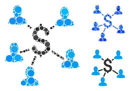 Payment clients mosaic of round dots in different sizes and color tinges, based on payment clients icon. Vector round dots are composed into blue collage.