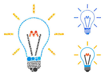 Invent bulb composition of circle elements in various sizes and color hues, based on invent bulb icon. Vector circle elements are composed into blue composition. Çizim