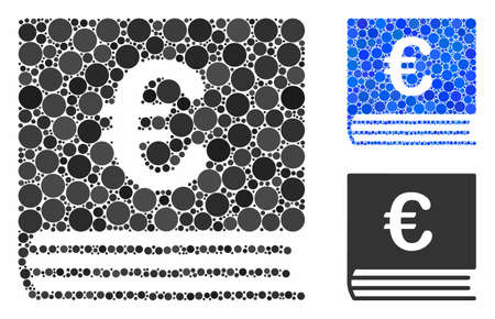 Euro bookkeeping book composition of small circles in different sizes and color tones, based on Euro bookkeeping book icon. Vector small circles are composed into blue composition. Фото со стока - 131322611