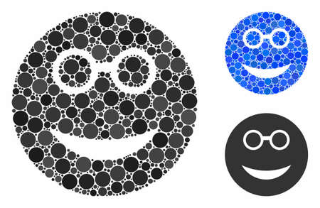 Clever smiley mosaic of filled circles in different sizes and shades, based on clever smiley icon. Vector filled circles are composed into blue collage.