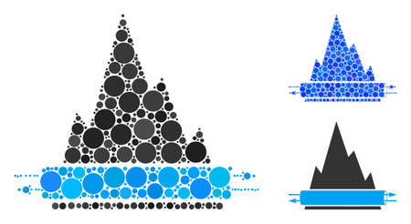 VPN tunnel mosaic of circle elements in various sizes and color tints, based on VPN tunnel icon. Vector circle elements are combined into blue mosaic.