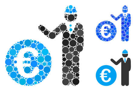 Euro developer composition of filled circles in variable sizes and shades, based on Euro developer icon. Vector filled circles are united into blue mosaic.  イラスト・ベクター素材