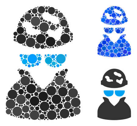 Spotted spy mosaic of spheric dots in various sizes and color tones, based on spotted spy icon. Vector round dots are united into blue mosaic. Dotted spotted spy icon in usual and blue versions.
