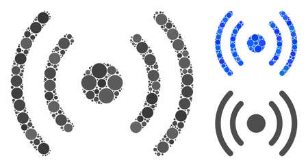 WiFi source composition of round dots in various sizes and color tints, based on WiFi source icon. Vector dots are combined into blue composition.