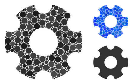 Cogwheel mosaic of spheric dots in various sizes and shades, based on cogwheel icon. Vector round dots are grouped into blue mosaic. Dotted cogwheel icon in usual and blue versions. Иллюстрация