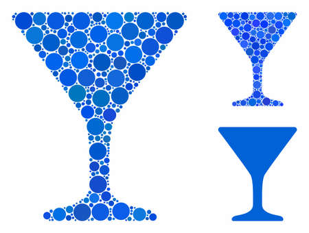 Wine glass mosaic of small circles in different sizes and color tones, based on wine glass icon. Vector small circles are organized into blue collage.