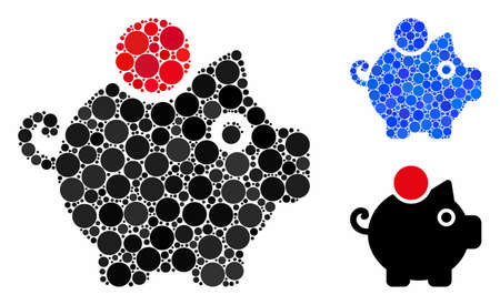 Piggy bank composition of spheric dots in different sizes and color tones, based on piggy bank icon. Vector dots are combined into blue composition. Dotted piggy bank icon in usual and blue versions.