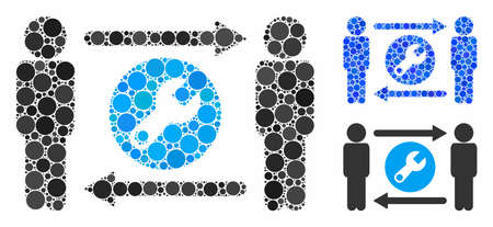 Persons tools exchange mosaic of filled circles in different sizes and color hues, based on persons tools exchange icon. Vector filled circles are combined into blue collage.