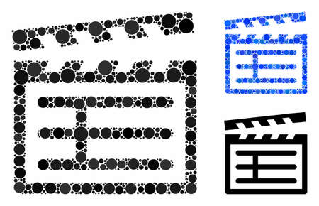 Clapboard mosaic of filled circles in different sizes and color hues, based on Clapboard icon. Vector filled circles are grouped into blue composition.