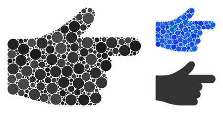 Index hand mosaic of small circles in variable sizes and shades, based on index hand icon. Vector small circles are composed into blue mosaic. Dotted index hand icon in usual and blue versions. Çizim
