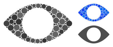 Blind eye composition of round dots in different sizes and color hues, based on blind eye icon. Vector dots are united into blue composition. Dotted blind eye icon in usual and blue versions.