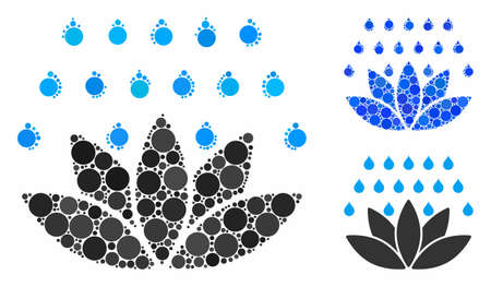 Spa shower mosaic of spheric dots in various sizes and color tinges, based on spa shower icon. Vector dots are grouped into blue composition. Dotted spa shower icon in usual and blue versions. Ilustracja