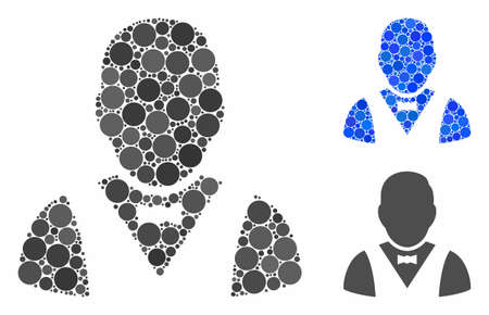 Waiter composition of circle elements in different sizes and color tones, based on waiter icon. Vector circle elements are organized into blue illustration.