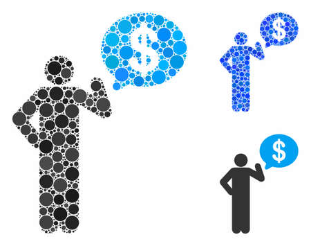 Businessman idea mosaic of small circles in various sizes and color tinges, based on businessman idea icon. Vector random circles are combined into blue mosaic.
