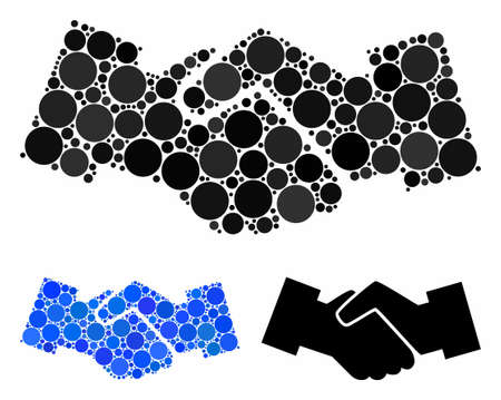 Handshake mosaic of circle elements in various sizes and color tones, based on handshake icon. Vector circle elements are combined into blue collage. Dotted handshake icon in usual and blue versions.