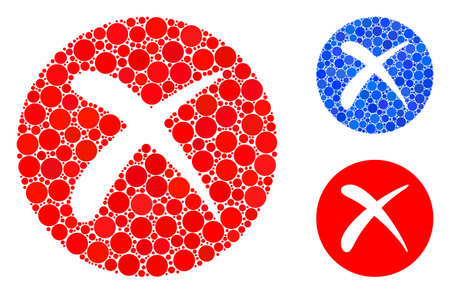 Delete mosaic of round dots in variable sizes and color tinges, based on delete icon. Vector round dots are grouped into blue mosaic. Dotted delete icon in usual and blue versions.