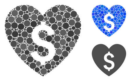 Paid love composition of circle elements in variable sizes and color tints, based on paid love icon. Vector circle elements are combined into blue composition.