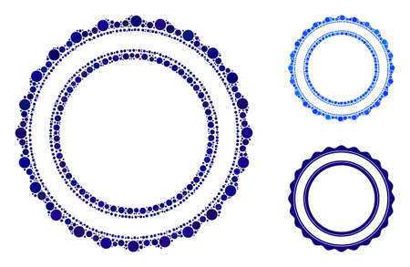 Double rosette circular frame mosaic of filled circles in variable sizes and color tones, based on double rosette circular frame icon. Vector filled circles are organized into blue illustration.
