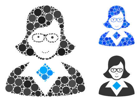Teacher lady mosaic of small circles in different sizes and color hues, based on teacher lady icon. Vector random circles are composed into blue mosaic. Иллюстрация
