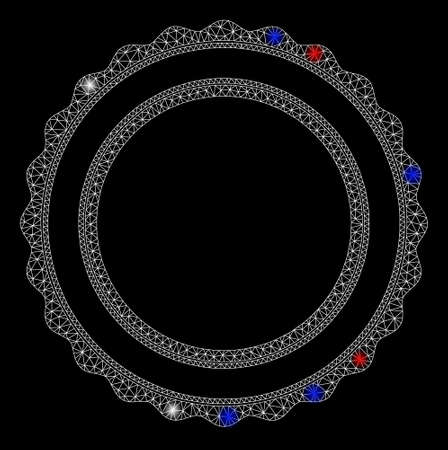 Bright mesh double rosette circular frame with glare effect. White wire carcass triangular mesh in vector format on a black background. Abstract 2d mesh designed with triangular lines, round dots,