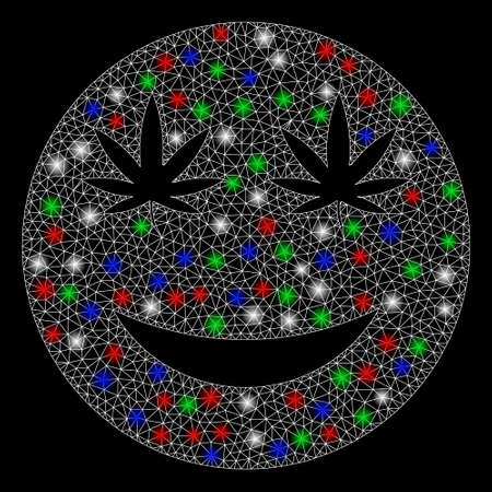 Bright mesh cannabis smile with glow effect. White wire carcass polygonal mesh in vector format on a black background. Abstract 2d mesh created from polygonal grid, dots, colorful glare spots. Çizim