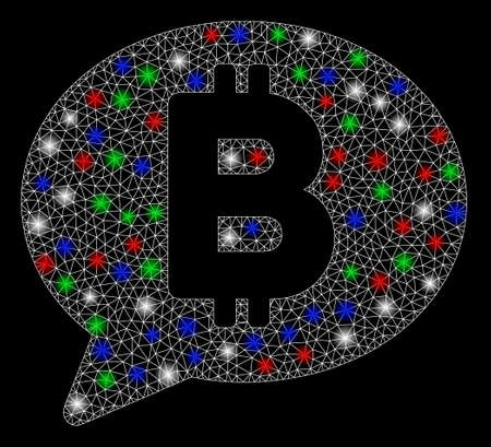 Bright mesh Bitcoin message with glare effect. White wire carcass triangular mesh in vector format on a black background. Abstract 2d mesh built from polygonal grid, small circle, colored glare spots. Çizim