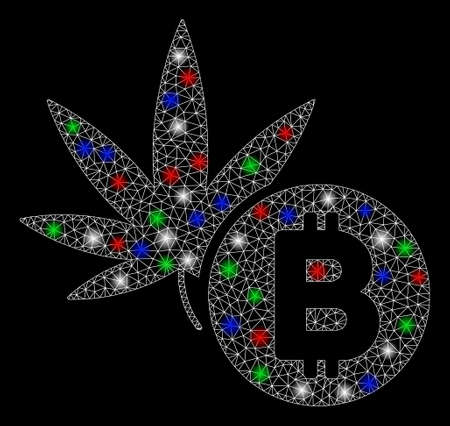 Bright mesh cannabis Bitcoin with glare effect. White wire carcass polygonal mesh in vector format on a black background. Abstract 2d mesh created from polygonal grid, small circle,