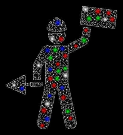Bright mesh brickwork builder with glow effect. White wire carcass triangular mesh in vector format on a black background. Abstract 2d mesh designed with triangular lines, round dots,  イラスト・ベクター素材