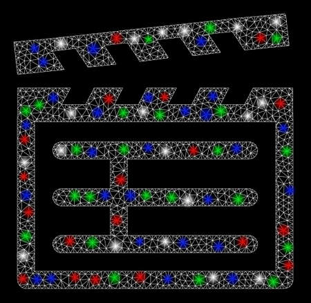 Bright mesh Clapboard with glow effect. White wire carcass triangular mesh in vector format on a black background. Abstract 2d mesh built from triangular lines, dots, colorful flash spots.