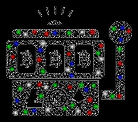 Bright mesh Bitcoin gambling machine with lightspot effect. White wire frame polygonal mesh in vector format on a black background. Abstract 2d mesh created from polygonal grid, dots,