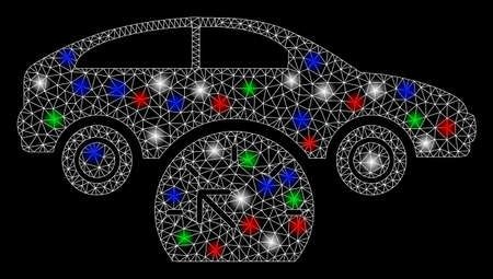 Bright mesh car testing with lightspot effect. White wire frame polygonal mesh in vector format on a black background. Abstract 2d mesh designed with polygonal grid, round dots, colored flare spots.