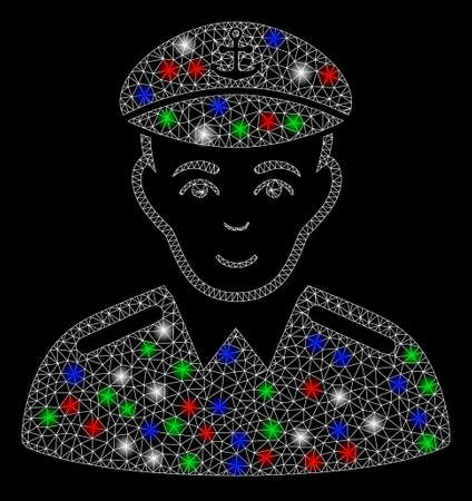 Bright mesh captain with lightspot effect. White wire frame polygonal mesh in vector format on a black background. Abstract 2d mesh designed with polygonal grid, points, colored light spots.