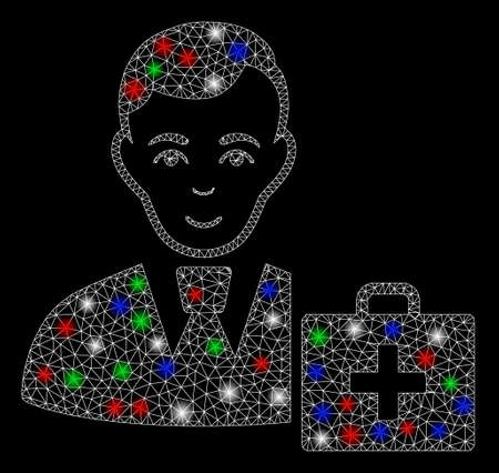 Bright mesh first-aid manager with lightspot effect. White wire frame polygonal mesh in vector format on a black background. Abstract 2d mesh built from triangular lines, dots, colorful light spots. Illustration