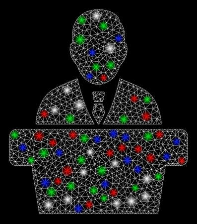 Bright mesh reporter with glare effect. White wire carcass polygonal mesh in vector format on a black background. Abstract 2d mesh created from polygonal grid, small circle, colorful glare spots.