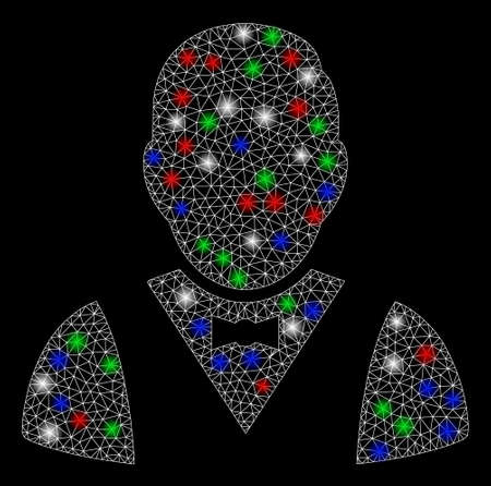 Bright mesh waiter with lightspot effect. White wire carcass polygonal network in vector format on a black background. Abstract 2d mesh designed with polygonal grid, small circle, colored flare spots. Çizim