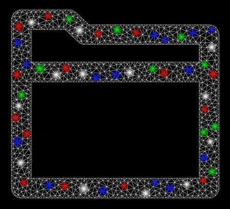 Bright mesh folder with glare effect. White wire carcass triangular mesh in vector format on a black background. Abstract 2d mesh created from triangular lines, dots, colorful glare spots.