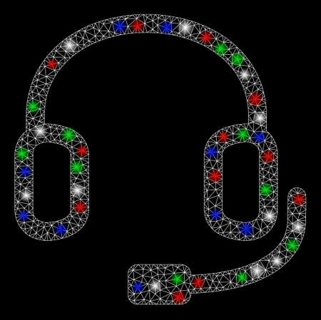 Bright mesh headset with glare effect. White wire carcass triangular mesh in vector format on a black background. Abstract 2d mesh designed with triangles, dots, colorful light spots.
