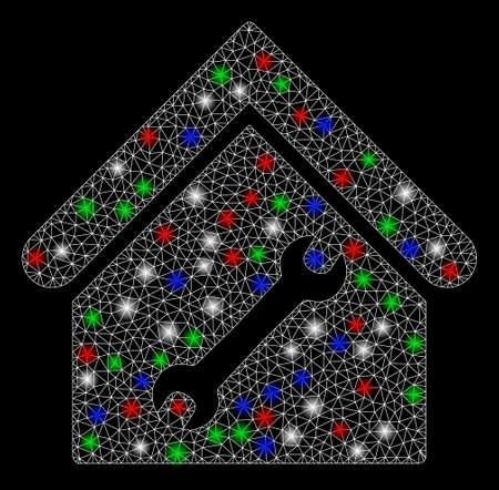 Bright mesh repair building with glare effect. White wire carcass polygonal mesh in vector format on a black background. Abstract 2d mesh designed with polygonal grid, dots, colorful flare spots.