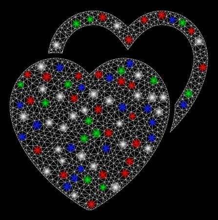 Bright mesh love hearts with glow effect. White wire carcass polygonal mesh in vector format on a black background. Abstract 2d mesh designed with triangles, round dots, colorful flare spots.