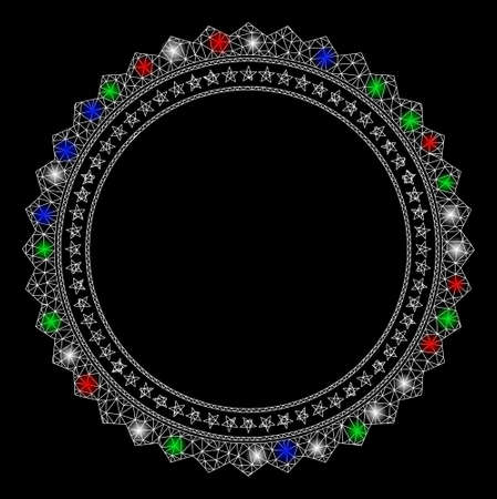 Bright mesh rosette circular star frame with lightspot effect. White wire carcass triangular mesh in vector format on a black background. Abstract 2d mesh designed with triangular lines, round dots,