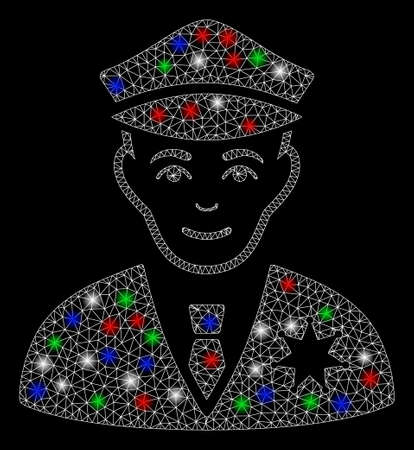 Bright mesh sheriff with glare effect. White wire frame triangular mesh in vector format on a black background. Abstract 2d mesh built from triangular lines, dots, colored flash spots. Ilustrace