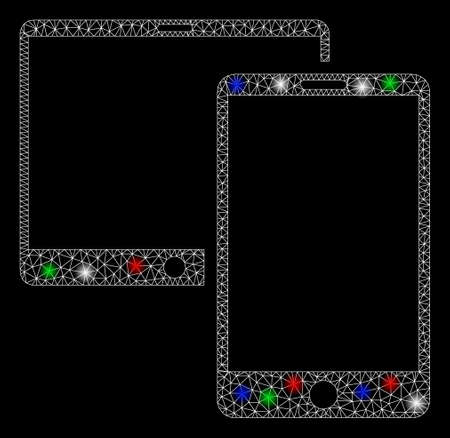 Bright mesh mobile devices with lightspot effect. White wire carcass polygonal mesh in vector format on a black background. Abstract 2d mesh designed with polygonal grid, dots, colorful glare spots.