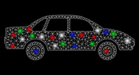 Bright mesh sedan car with glare effect. White wire frame polygonal mesh in vector format on a black background. Abstract 2d mesh built from polygonal grid, spheric points, colored glare spots.