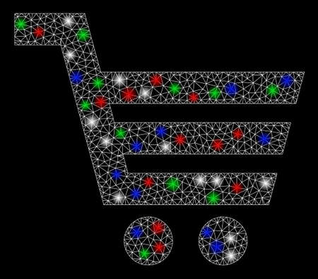Bright mesh shopping cart with glare effect. White wire carcass triangular mesh in vector format on a black background. Abstract 2d mesh designed with triangular lines, dots, colorful flare spots. 일러스트