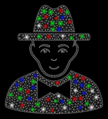 Bright mesh spy with glow effect. White wire frame polygonal mesh in vector format on a black background. Abstract 2d mesh created from polygonal grid, dots, colored flare spots.