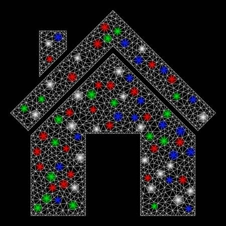 Bright mesh home with glare effect. White wire frame triangular mesh in vector format on a black background. Abstract 2d mesh built from triangular lines, dots, colored light spots.