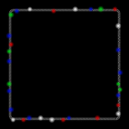 Bright mesh rounded square frame with lightspot effect. White wire carcass triangular mesh in vector format on a black background. Abstract 2d mesh designed with triangular lines, round dots,