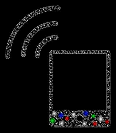 Bright mesh smartphone wifi signal with glow effect. White wire frame triangular mesh in vector format on a black background. Abstract 2d mesh designed with triangles, dots, colored flare spots.